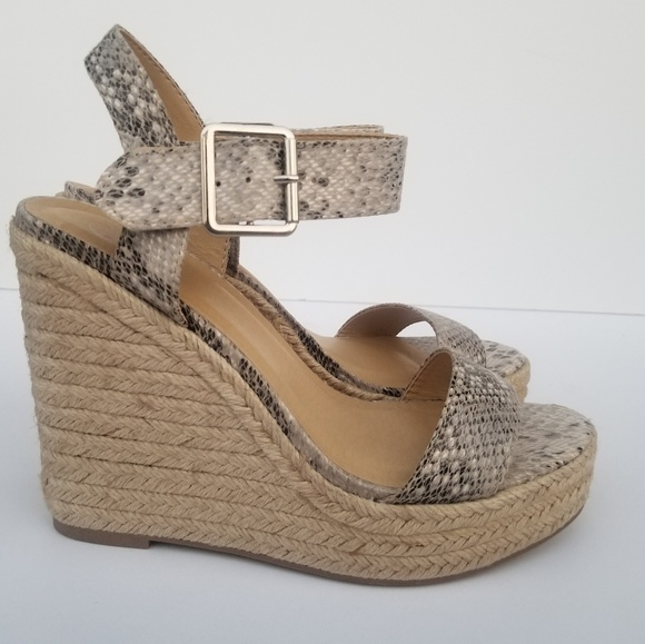 229b5d334c5 Faux Snakeskin Straw Wedges